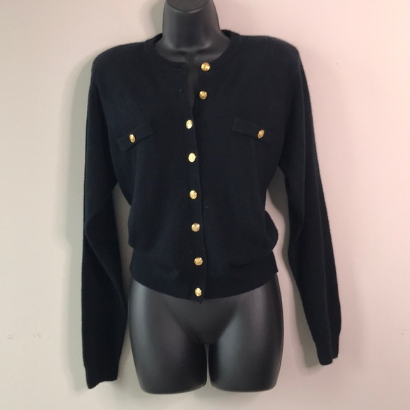 """Chanel """"Esque""""Vintage Gold Button Cardigan Sweater"""